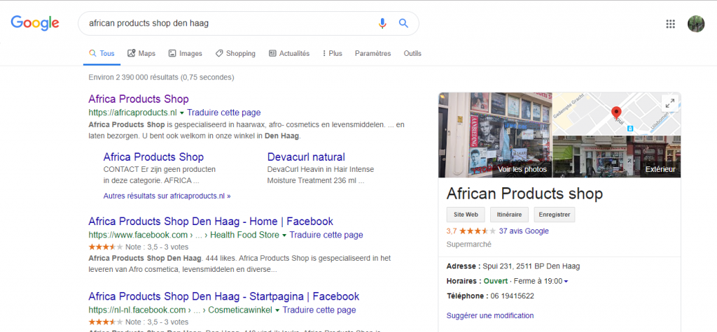 Figure 2. First Google search regarding the shop. Our first contact with the shop occurred online and we ended up going back to these online sources.