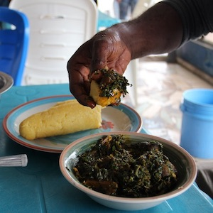 Eba and edikaikong is eaten by hand