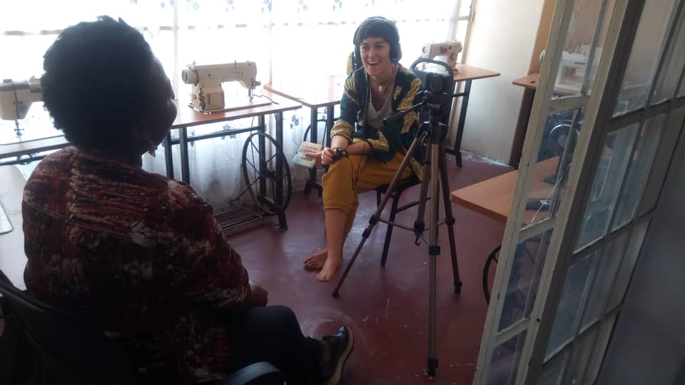 Interviewing Noella Kabale, former participant of AMwA's leadership programmes. 24th January, 2020. Source: Andrea Rodríguez Hernández.